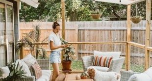 Natural back deck | let's stay home today | #outdoor #ad #shopthelook #deck #rat...