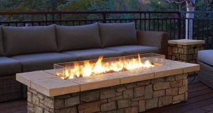 """Real Flame Sedona 66"""" Rectangle Gas Fire Table in Buff"""