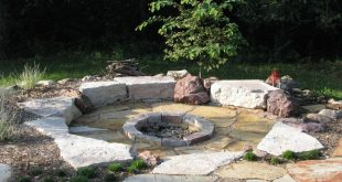 Idea - have the firepit come off from the poured portion of the patio slab. Lov...
