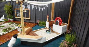 Sandkasten Piratenschiff selber bauen Anleitung Garten gestalten Spielplatz Gart...
