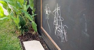 Spielplatz für Kinder im Garten-Kreidetafel an dem Zaun befestigt